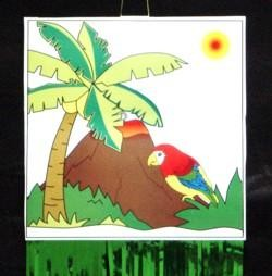 9 3/4in x 36in Hawaiian Luau Palm Tree/ Parrot Drop Fringe