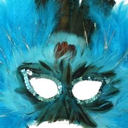 Turquoise Feather Masquerade Mask with Tinsel with Dyed Pheasant Feathers with Sequin Trim Around The Eyes