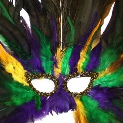 Purple Green and Yellow Feather Masquerade Mask With Dark Iridescent Coque Feathers And With A Peacock Feather