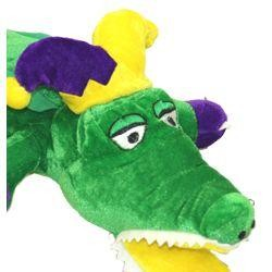 20in Long x 9in Wide Mardi Gras Plush Alligator w/ Jester Crown