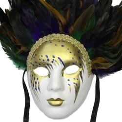 Paper Mache Masks: Full Face Deluxe Mask with Feathers