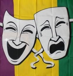 3ft x 5ft Purple Green Gold Striped Polyester Mardi Gras Flag w/ Comedy/ Tragedy Faces