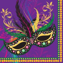 6.5in x 6.5in Mardi Gras Luncheon Napkins