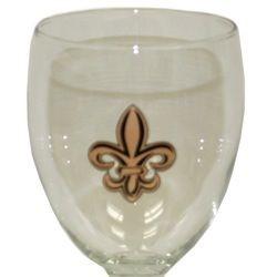 7 1/4in Tall 10 oz. Wine Goblet w/ Fleur-De-Lis Design
