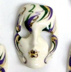 2in x 1.5in Hand Painted Mardi Gras Face Mask Pin/ Brooch