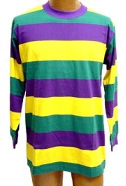 Adult X-Large Long Sleeve Mardi Gras Rugby Shirt NO COLLAR