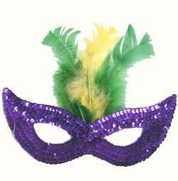 Sequin Mardi Gras Masquerade Mask with Feather
