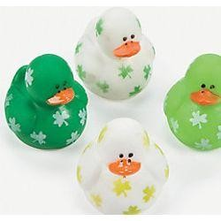 1 3/4in Vinyl Mini St Patricks Rubber Duckies
