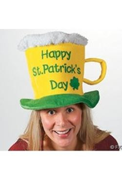9in Tall St Patricks Beer Mug Hat