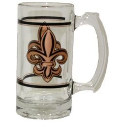5 1/2in Tall 12oz. Glass Stein/ Beer Mug w/ Fleur-De-Lis Design