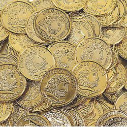 1 1/2in Plastic Metallic Gold Coins/ Doubloons