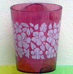 2.5in Plastic Assorted Color Hibiscus Print  Mini Shot Glass