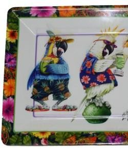 10in x 14in Caribbean Parrot Party Plastic Serving Tray