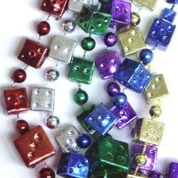 33in Graduated from 8mm to 20mm Metallic 6 Assorted Color Casino Dice Beads
