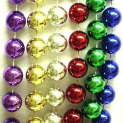 60in 14mm Round Metallic 6 Assorted Color Beads