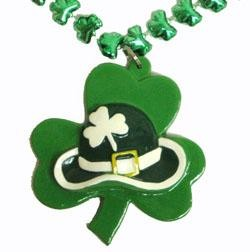 33in Metallic Green Shamrock/ Clover Bead w/ Shamrock/ Clover/ Hat