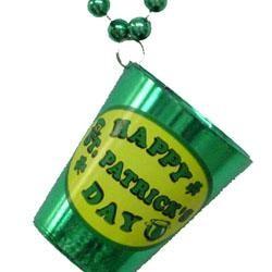 33in 7 mm Metallic Green Bead w/ St Patrick's Day Plastic Shot Glass w/ Stickers