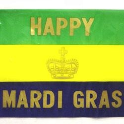 11in x 17in Happy Mardi Gras Plastic Flag
