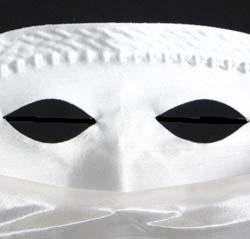 9in x 11in White Satin Veil Half Mask