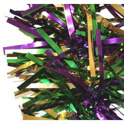 9ft Long x 6in Wide Purple/ Green/ Gold Metallic Tinsel Garland