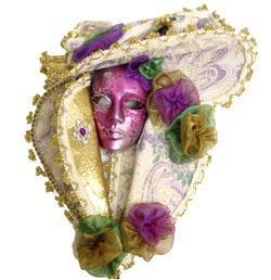 12in x 8in Venetian Mask w/ Hat