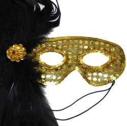 Gold Sequin Masquerade Mask with Black Feathers on the Side