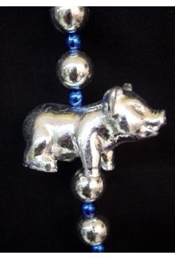 42in Metallic Silver Pig Necklace