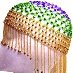 Purple Green Gold Beaded Headpiece