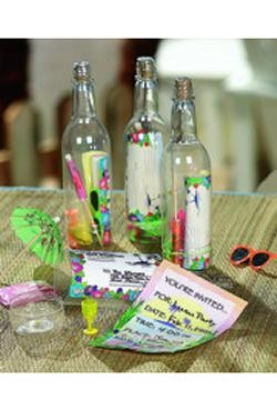 7-1/4in Assorted Tropical Luau Items w/Invitation In A Bottle