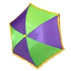 14in x  6in Purple Green Yellow Nylon Parasol/ Umbrella w/ Fringe