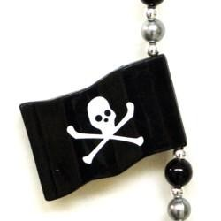 Pirate Skull Bones Flag Beads Necklace