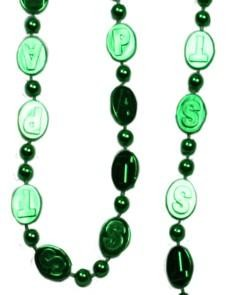 38in 16mm St Pats Stamped Green Beads
