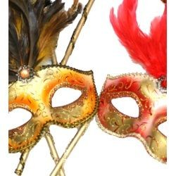 Assorted Color Venetian Masquerade Mask On A Stick With Painted Feathers