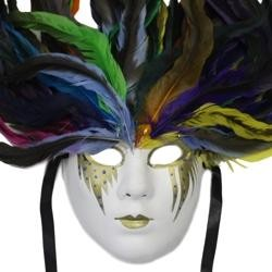 19in Tall x 6.25in Wide Paper Mache Deluxe Rainbow Feather Mask