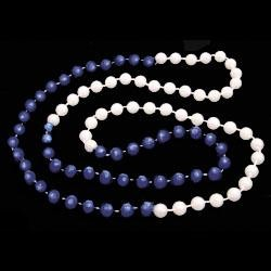 33in 7mm Round 4 Section Metallic Blue/ White Pearl Beads