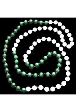 33in 7mm Round 4 Section Metallic Green/ White Pearl Beads