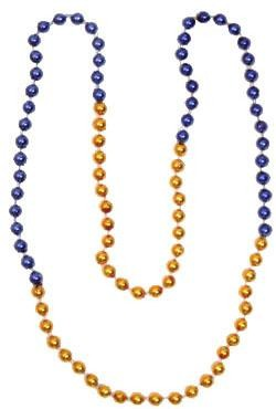 33in 7mm Round 4 Section Metallic Orange/ Metallic Blue Beads