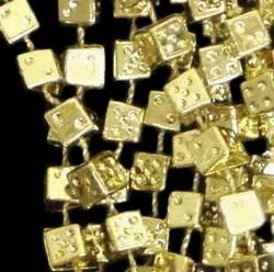 33in 6.5mm Metallic Gold Casino Dice Beads