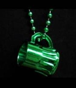 33in 7mm Metallic Green Bead w/ Beer Mug