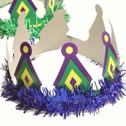 4in Card Board Mardi Gras Crown w/ Foil