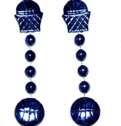 36in Metallic Blue Basketball Net/ Basketball Beads