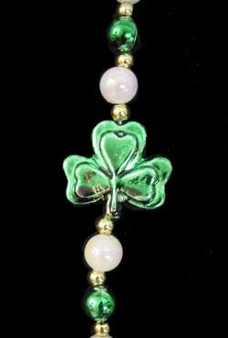 42in Met Green/ White AB Beads w/ Shamrock/ Clover