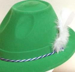Green Velour St Pats Tyrolean Hat