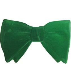 6in x4in Green Velour Bow Tie - 3-Dimensional Plastic
