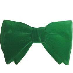 6in x4in Green Velour Bow Tie - 3-Dimensional Plastic
