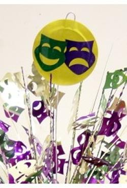 14in Metallic Purple/ Green/ Gold Comedy/ Tragedy Balloons Weight Centerpiece