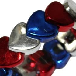 Metallic Red/ Blue/ Silver Heart Bracelet