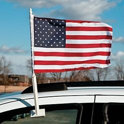 16.5in x 11 1/4in Polyester USA Car Flag w/ Flag Holder