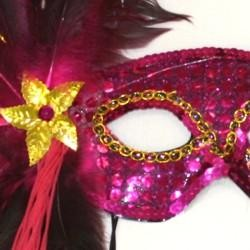 Hot Pink Sequin Feather Masquerade Mask with Feathers on the Side and a Flower