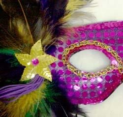 Sequin Masquerade Mask with Purple Green and Gold Feathers on the Side